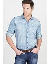 Printed Blue Casual Shirt Basics
