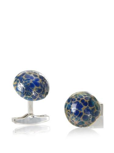 Daniel Dolce Men's Handmade Glass Cufflinks, Blue