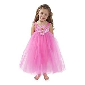Flower Girl Dress Hot Pink Tulle Wedding Dress for Little Girl Birthday Baby and Toddler Tutu Dress ...
