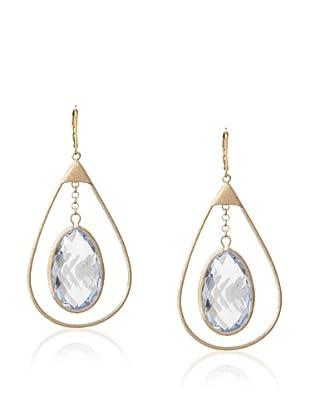 Rivka Friedman Teardrop Aqua Crystal Caged Earrings