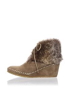 André Assous Women's Barlow Rabbit Fur Ankle Boot (Deserto)