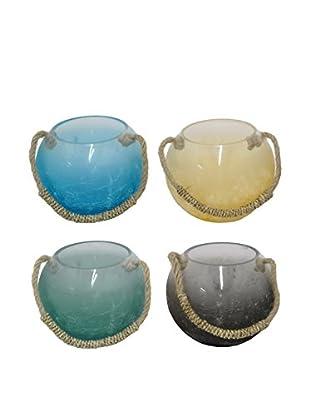 Three Hands Set of 4 Glass Votives