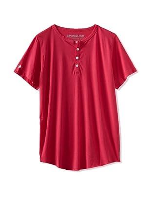 Spenglish Men's Short Sleeve Henley (neon pink)
