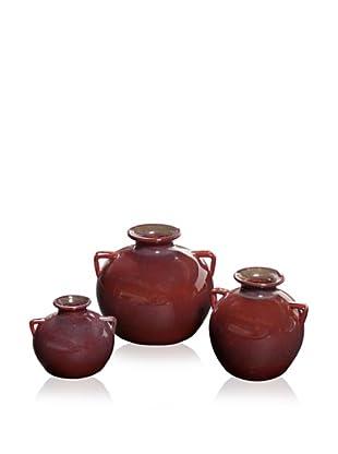 Set of 3  Red Ceramic Pots, Red