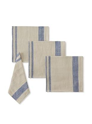 Found Object Chambery Set of 4 Linen/Cotton Napkins (Khaki/Blue)