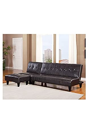 Acme Furniture Faux Leather Adjustable Sofa, Espresso