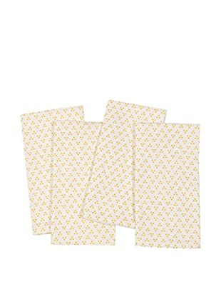 KAF Home Set of 4 Triple Dot Napkins, Mimosa Yellow