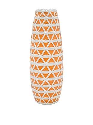 Three Hands Medium Trellis Ceramic Vase, Orange/White