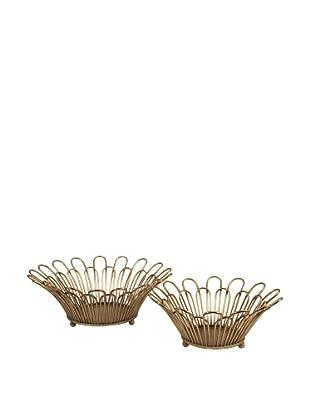Set of 2 Verine Gold Leaf Trays