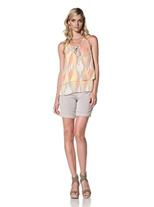 Central Park West Women's Formentera Tank With String Neck Tie (Marigold)
