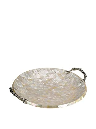 Neda Behman Round Mother of Pearl & Sterling Silver Tray