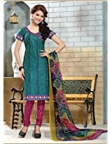 Saara Green And Pink Printed Dress Material - 144D4055