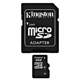 【クリックで詳細表示】Kingston 4GB microSDHC Class4 SDC4/4GB: パソコン・周辺機器
