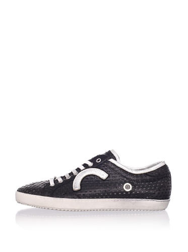Alessandro Dell'Acqua Men's Berger Perforated Sneaker (Black/Silver)