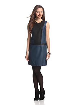 JB by Julie Brown Women's Clemmie Colorblock Faux Leather Dress (Navy/Black)
