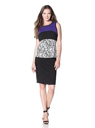 Calvin Klein Women's Colorblock Jacquard Top (Black/Birch/Byzantine)