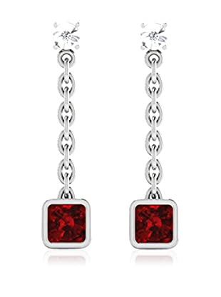 Diamant Vendome 0.03 Cts Diamond & 1.8 Cts Ruby Earring In 9Kt White Gold (Gh Color, Pk Clarity) Pxt9432W/9/Ns/Ruby White Gold