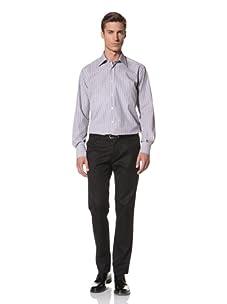 Valentino Men's Dress Shirt (Grey/Light Grey Stripe)
