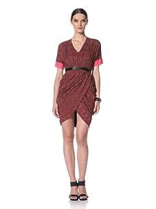 Yigal Azrouel Women's Short Sleeve Draped Dress (Poinsettia)