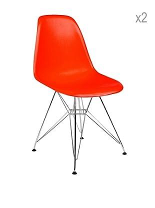 Lo+deModa Set De 2 Sillas Tower Color Edition Rojo