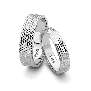 Platinum Love Bands with Full Diamond Cut by Suranas Jewelove