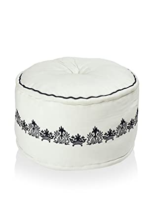 Surya Embroidered Canvas Pouf, White/Jet Black