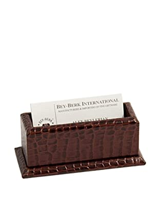 Croc-Embossed Leather Business Card Holder