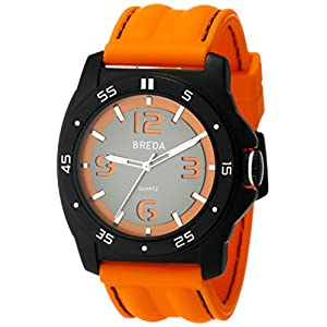 Breda Men's Kevin Cut Out Dial Watch - Orange