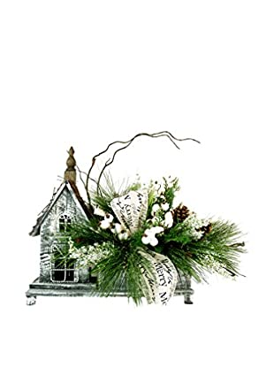 Creative Displays Country House Winter Pine Display, White/Brown/Green