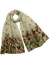 Butterfly Flower Garden Sheer Long Scarf Shawl - Cream