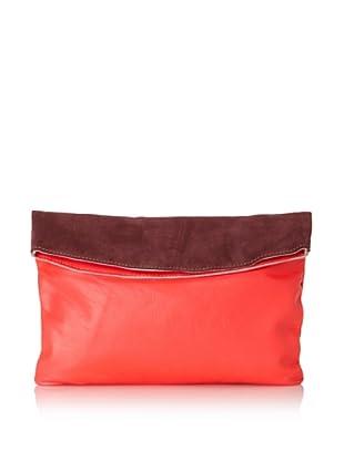 Gorjana Women's Colorblock Large Foldover Clutch (Neon Coral/Burgundy)