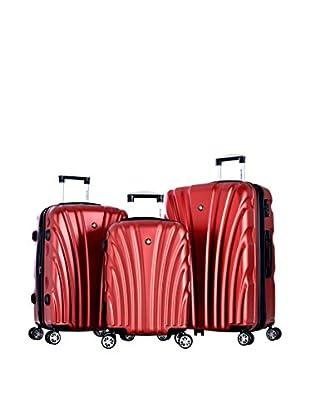 Olympia Vortex 3-Piece Hardcase Luggage Set, Wine