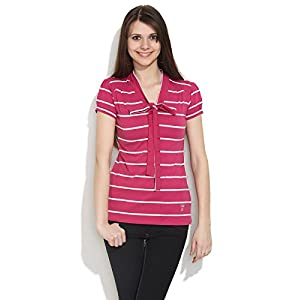 Candy Cane Striped Tee-Pink-M