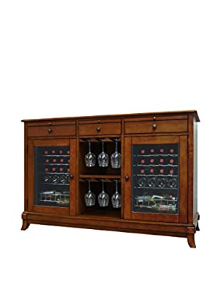 Vinotemp 36-Bottle Cava Dual-Zone Thermoelectric Wine Credenza, Rich Maple
