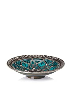 Traditional Moroccan Ceramic Bowl with Metal Trim (Turquoise)