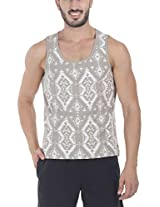 Zobello Men's Reverse Printed Summer Tank(21148B_Washed Brown Geometric Print_Small)