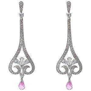 Pearl Paradise Chandelier Cz Earring