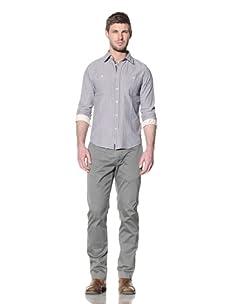 Just A Cheap Shirt Men's Douglas Striped Button-Up Shirt (Blue/CREAM)