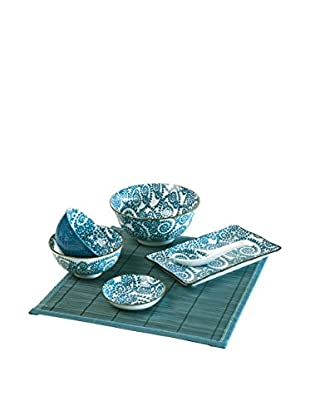 Soul Kitchen Sushi Geschirr 7 tlg. Set Oriented blau
