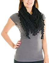 Cotton Cantina Juniors Polyester Knitted Scarf with Lace and Fringe Detail (One Size, Black)