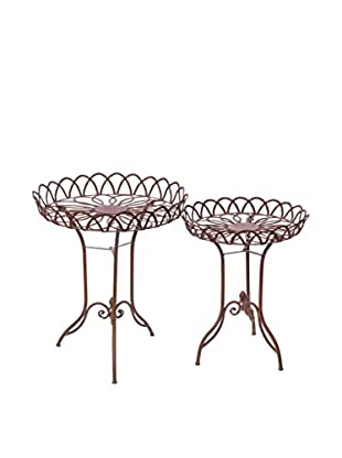 Skalny Set Of 2 Round Metal Tables, Brown