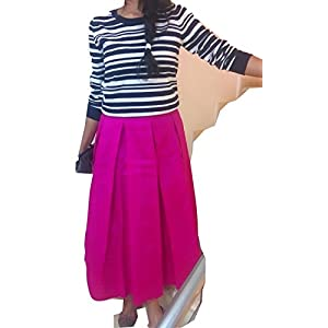 The Sewing Machine Pink Art Silk Midi SKirt