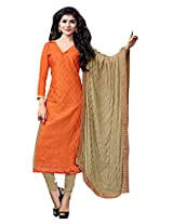 Manvaa PREETY ORANGE AND BEIGE Embroidered Dress Material