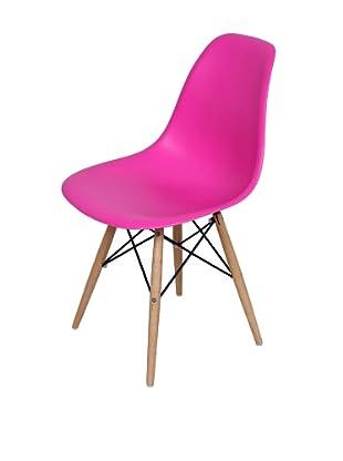 Control Brand Mid-Century-Inspired X-Leg Dining Chair, Fuchsia