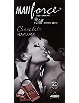 Manforce 3 in 1 Wild Ribbed Contour Dotted Condoms - Chocolate Flavored (Pack of 20)