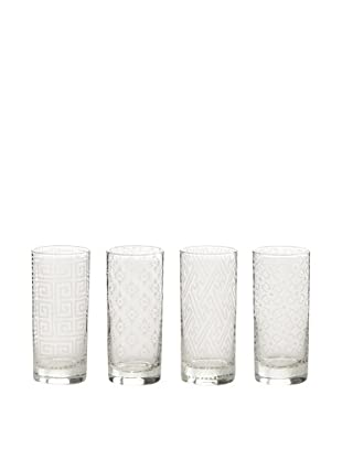 Rosanna Set of 4 Calypso Etched 10-Oz. Highball Glasses