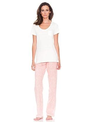 Women secret Pijama Largo Mc Spring Paisley (Marfil/Rosa)