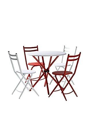 KITCHEN FURNITURE & DECO HOME Tischgruppe 5 tlg. Set weiß/rot