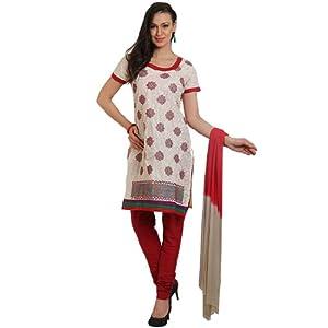 Cotton Beige Dress Material