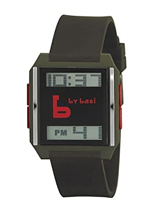 BY BASI A0861U07 - Reloj Unisex movi cuarzo correa policarbonato caqui/rojo